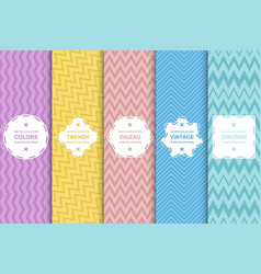 set striped seamless patterns - delicate vector image