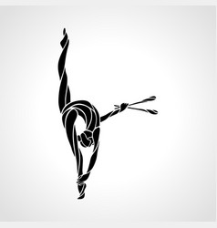 silhouette art rhythmic gymnastic girl with vector image