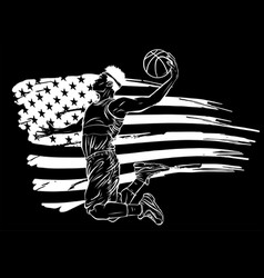 Silhouette basketball player on american flag vector