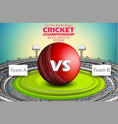 Stadium of cricket with ball on pitch and vs vector
