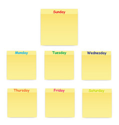 Sticky sticker on each day of the week vector