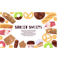 street sweets banner candies vector image