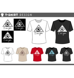 t shirt design with eye vector image