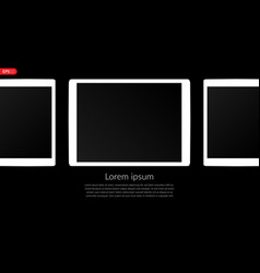 Tablet computer mobile white mockup composition vector