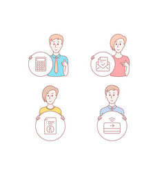 technical info calculator and approved mail icons vector image