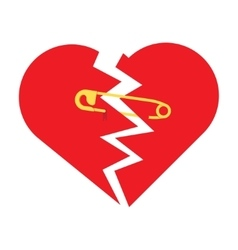 Torn heart with safety pin vector
