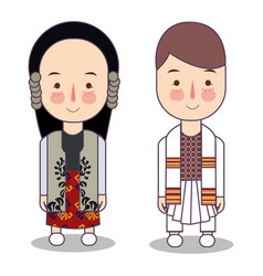 Traditional national clothes of serbia set of vector