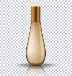 Transparent gold perfume cosmetic bottle vector