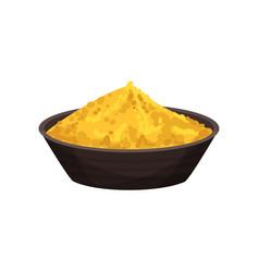 Turmeric powder in ceramic bowl spicy condiment vector