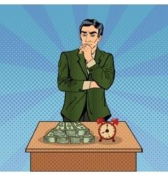Uncertain Businessman Time and Money Pop Art vector