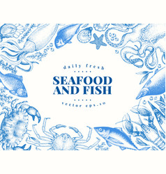 vintage seafood and fish restaurant vector image