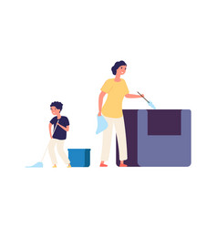Washing floor remove dust home cleaning family vector