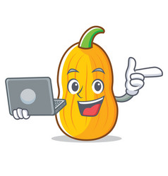 With laptop butternut squash character cartoon vector