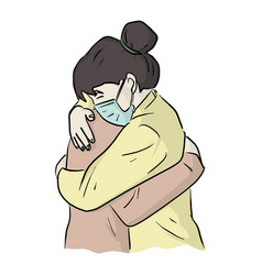 Woman with surgical masks sharing a hug vector