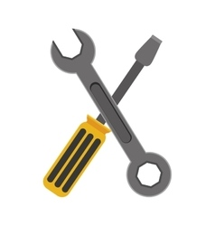 yellow Wrench and gray screwdriver vector image