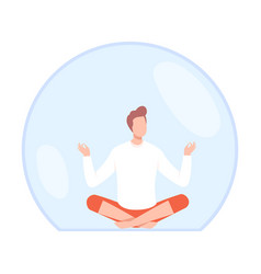 Young man meditating inside transparent protective vector