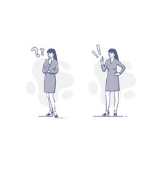 Young woman thinking and deciding flat outline vector