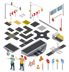 isometric elements of road sections vector image