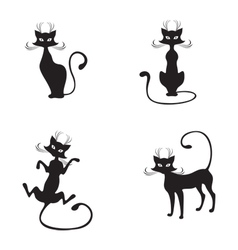 silhouette of black graceful cats vector image