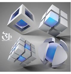 3d geometric set vector image