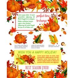 autumn harvest celebration thanksgiving poster vector image vector image