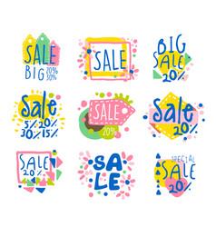 big sale set for label design sale shopping vector image