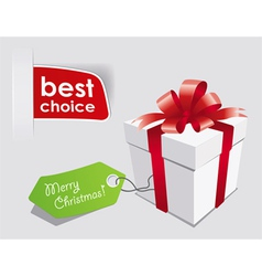 gift box with red bow isolated vector image vector image
