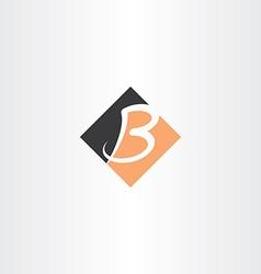 letter b orange black icon logo vector image