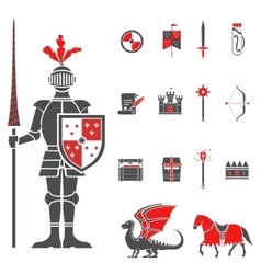 Medieval knights black red icons set vector image