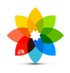 abstract colorful shape flower symbol with rain vector image vector image