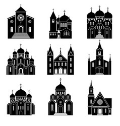 church black silhouette icons vector image vector image