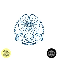 Linen logo Outline style of a linen flower seed b vector image vector image