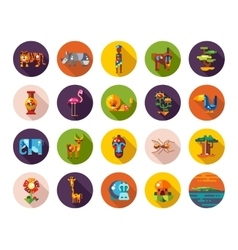Set of flat design african icons and infographics vector image