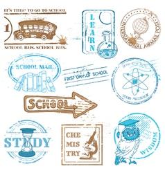Set of SCHOOL stamps vector image