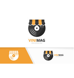 vinyl and shop logo combination record and vector image vector image