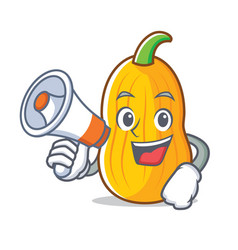 with megaphone butternut squash character cartoon vector image vector image
