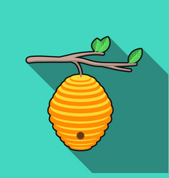 beehive icon in flat style isolated on white vector image vector image