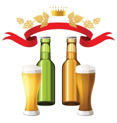 dark and light beer background vector image