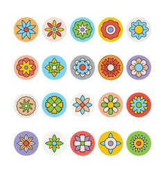 Flowers and floral colored icons 6 vector