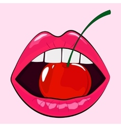 Isolated sensual woman pink lips with cherry vector image
