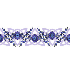 seamless border with flowers and celtic knots vector image vector image