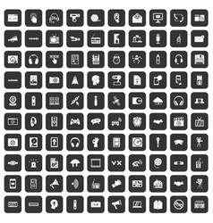 100 audio icons set black vector image