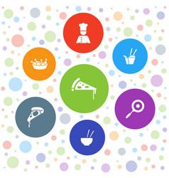 7 cuisine icons vector