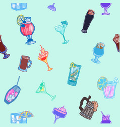 Alcoholic seamless pattern with doodle on the vector