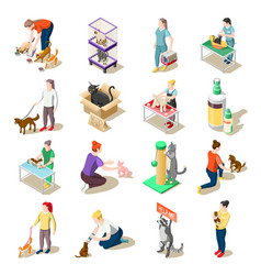 Animal care volunteers isometric icons vector