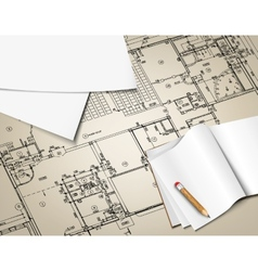 Architectural background drawing technical letters vector image