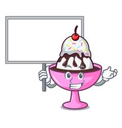 Bring board ice cream sundae character cartoon vector