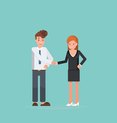 busines male female shake hands template for vector image
