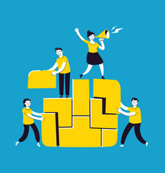 business concept people connecting puzzle vector image