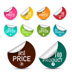 business labels set circle paper stickers vector image